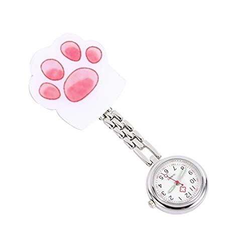 KDMB Reloj de Moda Reloj de Bolsillo Colgante Noche Glowing Cat Paw Reloj pequeño Número árabe Movimiento Broche de Pecho Reloj para Adultos Niños Colores Surtidos