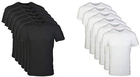Gildan Men's Crew T-Shirt Multipack, Black, 2X-Large Men's Crew T-Shirt Multipack, White, XX-Large