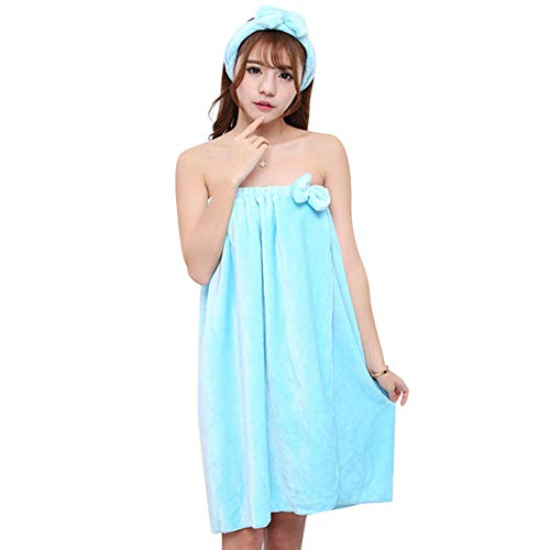 9302sonoaud 2Pcs Serviette de Bain Women Absorbent Shower Skirt Bathrobe Hair Cap Bath Towel Dressing Gown Bleu