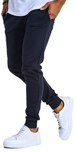 Björn Swensen Jogginghose Herren Baumwolle Jogging Hose Männer Sporthose lang Freizeithose Trainingshose Jogger Slim Fit BS3001 Dunkel Blau Large