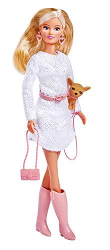 Simba Steffi Love Chic Walk / Puppe in einem modischen Kleid / mit Ohrringen, Gürtel, Tasche und ihrem Hund / 29cm / Für Kinder ab 3 Jahren
