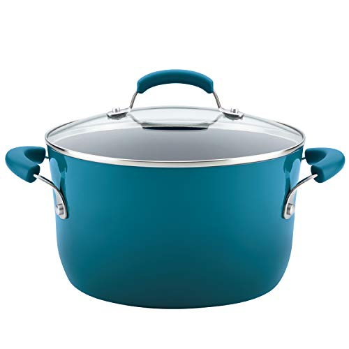 Rachael Ray 17659 Brights  Nonstick Stock Pot/Stockpot with Lid - 6 Quart, Blue