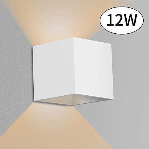GROOFOO 12W LED Wandlampe Innen Aussen Aluminium Moderne Wandleuchte Up Down Einstellbarer Abstrahlwinkel Wasserdichte Wandlicht Warmweißes Licht für Wohnzimmer, Schlafzimmer, Flur - Weiß