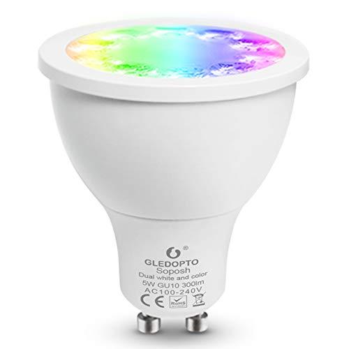 GLEDOPTO RGBCCT Intelligent ZigBee GU10 Spotlight Bulb Smart Phone App Control Voice Control Compatible with Hue Bridge SmartThings Amazon Alexa Echo Plus (Require ZigBee Hub)