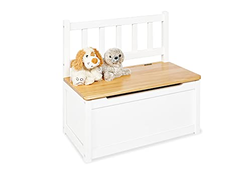 Pinolino Kindertruhenbank Fenna, aus massivem Holz, mit Klappendämpfer, Sitzhöhe 29 cm, für Kinder ab 2 Jahren, weiß und klar lackiert