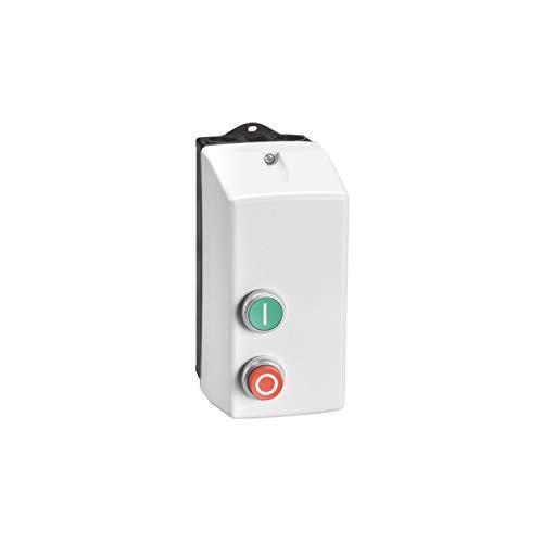 Arrancador directo en caja con pulsador de marcha y paro/reset, con relé térmico, 1A 230V AC, 9,2 x 17 x 20,6 centímetros, color gris (Referencia: M1P00912230A4)