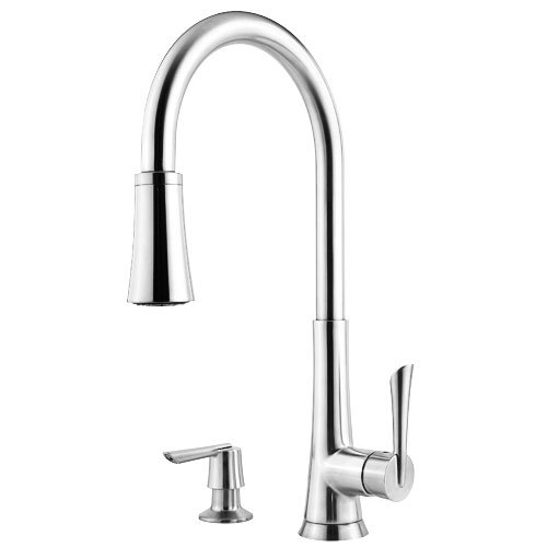 Pfister Mystique 1-Handle Pull-Down Kitchen Faucet with Soap Dispenser, Polished Chrome