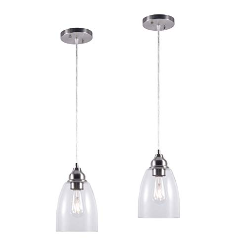 YaoKuem Pendant Lighting Fixture, Hanging Lights with E26 Medium Base, Metal Housing with Clear Glass, Bulbs not Included, 2-Pack