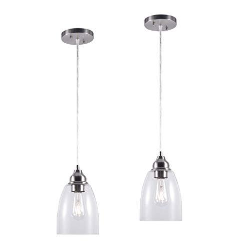 YaoKuem - Lámpara de techo colgante con base mediana E26, carcasa de metal con vidrio transparente, bombillas no incluidas, paquete de 2 (acabado en níquel)