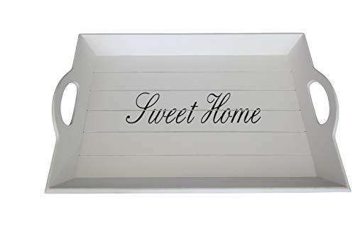 elbmöbel Holz-Tablett in weiß rechteckig, Sweet Home Aufdruck, Griffe und erhöhter Rand (43 x 28cm)