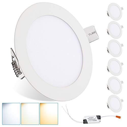 Hengda 6 focos LED empotrables redondos de 12 W, ultrafinos, cambio de color, IP44, resistentes al agua, para baño, dormitorio, cocina [Clase energética A+]