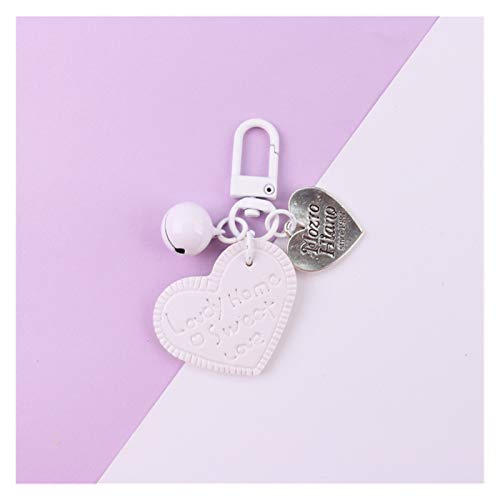 Dpsyszd Keychain Cute Sweet Leather Heart Keyring Bowknot Cartoon Keychain For Women Trinket Key Chains Ring Car Bag Pendent Charm Key Chains (Color : White)