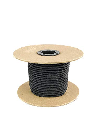 Elastic Bungee Cord. 3/16', 3/8', 1/4', 5/16', 1/8'. 50 and 100 Foot Spools. Weather and Abrasion Resistant. Used for Tie Downs, Crafting, DIY Projects. Black Shock Cord. Made in the USA