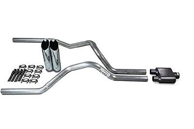"Truck Exhaust Kits - Shop Line dual exhaust system 2.5"" Aluminized pipe 1 Chamber Muffler 2.5"" With Slash Cut Chrome Tips for Silverado, Sierra, F-Series,& Ram"
