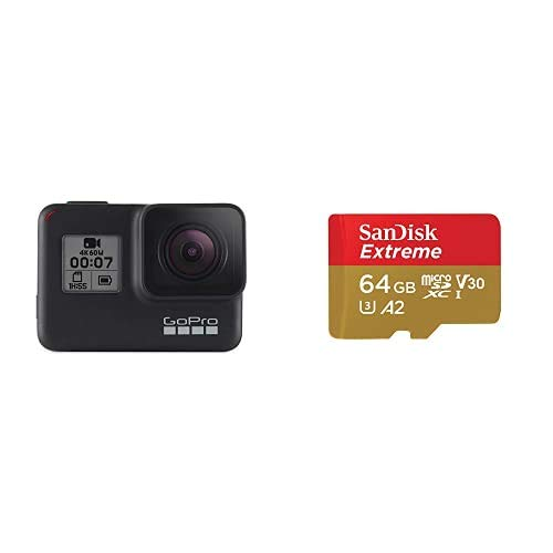GoproHero7 - CámaraDeAcción (Sumergible hasta 10M,Vídeo4K HD,FotosDe12MP) + SanDisk Extreme - Tarjeta de Memoria microSDXC de 64GB con Adaptador SD, A2, hasta 160MB/s, Class 10, U3 y V30