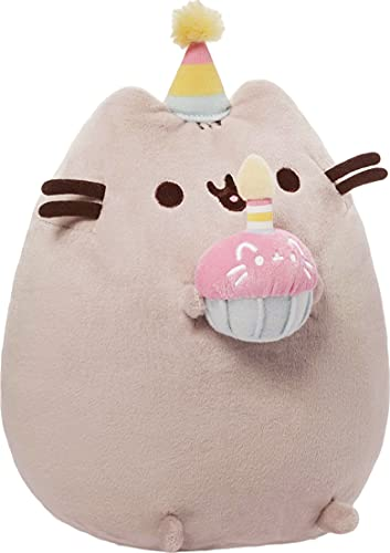 GUND Pusheen Snackables Birthday Cupcake Plush Stuffed Animal, Gray, 10.5'