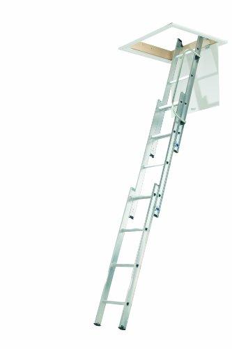 ABRU 36003 3-teilige kompakte Aluminium-Dachbodenleiter mit Handlauf, Komfort-D-förmige Sprossen, inkl. Stange, 150 kg Tragkraft, Sicherheitszertifikat EN14975, silber