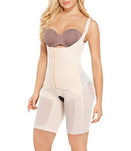 COMFREE Body Sculptant Femme Invisible Gaine Amincissant Ventre Plat Combinaison Minceur Sculptant Body Shaper Grande Taille Lingerie Amincissant Bodysuit Fessier Beige M