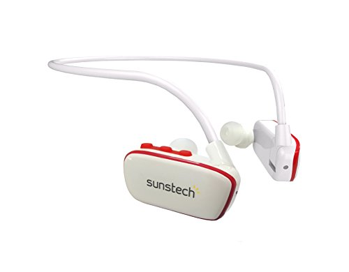 Sunstech ARGOS4GBWTRD - Reproductor MP3 deportivo resistente al agua, Blanco y Rojo, 4 GB