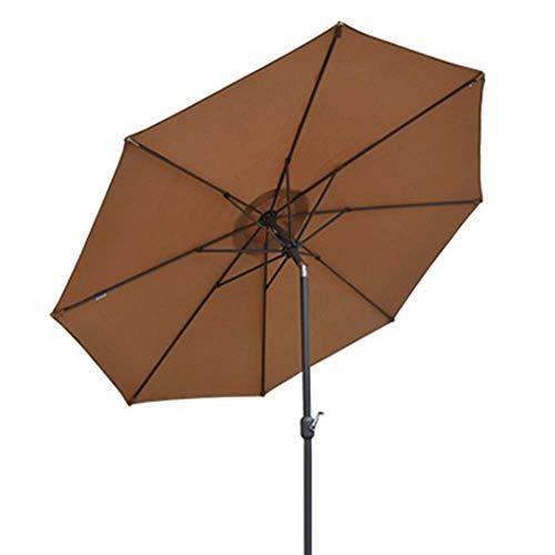 YLLN 9,8 Fuß großer Marktschirm für Außenterrassen, Sonnenschirm mit Sonnenschirm am Strand, Windschutz mit Druckknopfneigung, Kurbel und 8 stabilen Rippen (Farbe: Braun, Größe: Oslash; 300 cm)