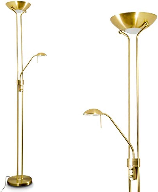 LED Stehlampe Rom aus Metall in Messing, dimmbare Stehleuchte Drehdimmer am Gehuse, 1 x 18 Watt, 1600 Lumen u. 1 x 5 Watt, 480 Lumen, 3000 Kelvin (warmwei), Bodenlampe mit verstellbarem Lesearm