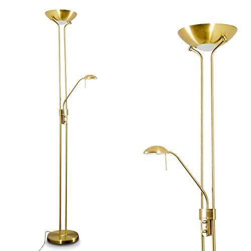 LED Stehlampe Rom aus Metall in Messing, dimmbare Stehleuchte Drehdimmer am Gehäuse, 1 x 18 Watt, 1600 Lumen u. 1 x 5 Watt, 480 Lumen, 3000 Kelvin (warmweiß), Deckenfluter mit verstellbarem Lesearm