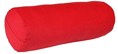YogaAccessories MAX Support Deluxe Round Cotton Yoga Bolster, Blue
