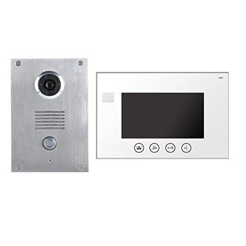 2 Draht Video Türsprechanlage Gegensprechanlage 7'' Monitor Klingel Farb Kamera (weiss 1 Monitor)