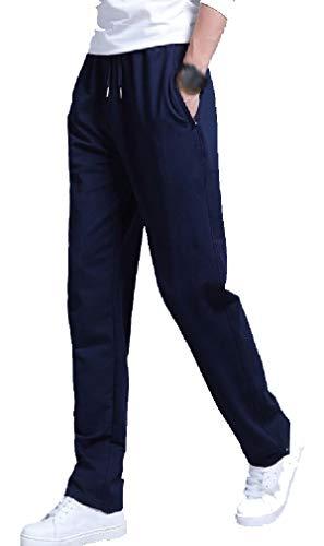 Calça de moletom masculina DressU com bolsos casuais e ajuste reto, Azul marinho, Large