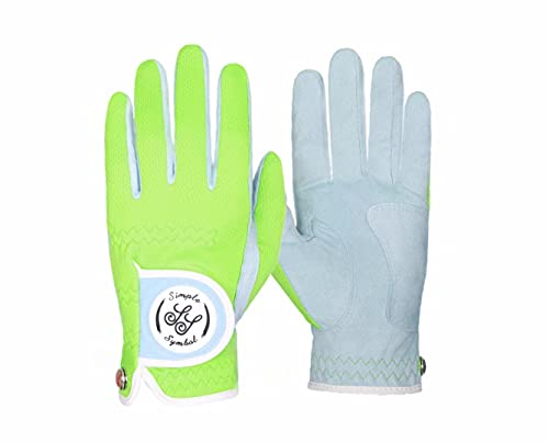 Simple Symbol Women's RainGrip Golf Glove,Hot Wet Weather Comfort,Four Colors,Pink/Purple/White/Green, Left Hand Right Hand(Green,S,Right)
