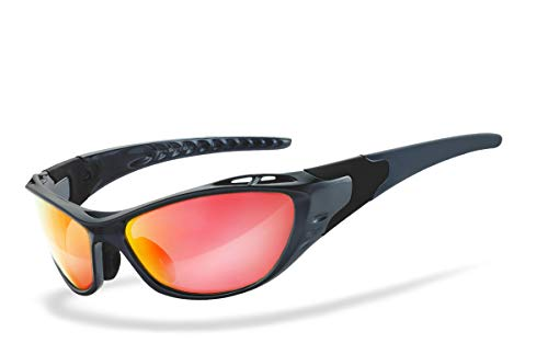 HSE SportEyes® | UV400 Schutzfilter, HLT® Kunststoff-Sicherheitsglas nach DIN EN 166 | Sportbrille, Radbrille, Sonnenbrille| Brillengestell: schwarz, Brille: X-Side