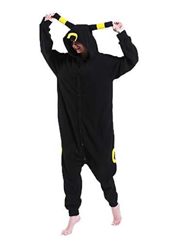 FORLADY Umbreon Disfraz de Cosplay para Adultos Pijamas de Animales Negro Unisex