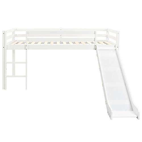 Festnight- Kids Kinderbett Halbhochbett | Kinder Hochbett Komplettset, Kinderhochbett-Rahmen mit Rutsche und Leiter - Kiefernholz 97x208cm - Weiß
