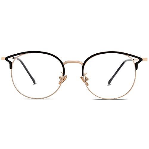 SOJOS Blaulichtfilter Brille Computer Brille Anti Blaues Licht Brille für Damen Hochwertig Blaulicht Brille Blueblocker Brille SJ5035 mit Schwarz und Gold Rahmen/Anti-Blaulicht Linse
