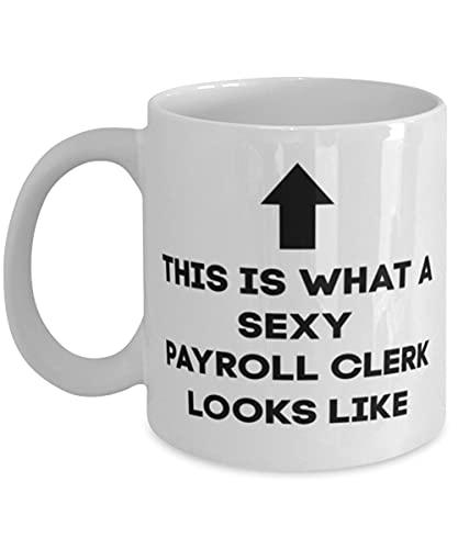 DKISEE Taza de café de empleado de nómina, taza de café, taza de té, esto es lo que un empleado de nómina sexy se ve como, para esposa, para marido, para