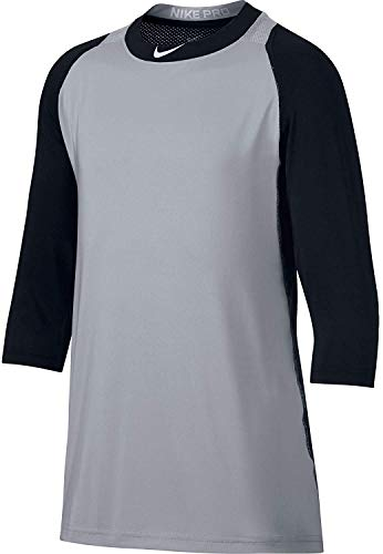 Nike Boys' Pro Cool Reglan ¾-Sleeve Baseball Shirt (Black/Grey, S)