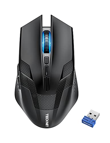 TeckNet Wireless Gaming Mouse with USB Nano Receiver, 2.4GHZ Up to 4800DPI, Wireless Computer Mice with 8 Buttons, Ergonomic Design (Not for Programmable) Professional PC Gaming Cordless Mouse Mice