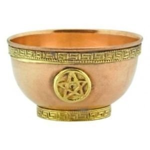 Pure Copper Bowl decorated with a Pentagram -- for Insence or decoration Size (diameter) 3 Inch / ~7,8cm -- also used as precious altar bowl, offering bowl provided by native-spirit by Native-spirit.eu