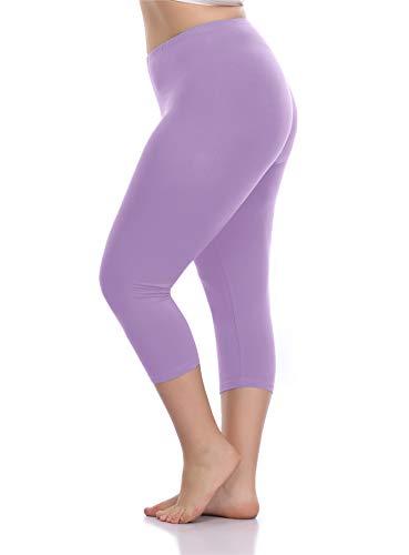 VOGUEMAX Women's Capri Leggings Plus Size Stretch and Comfy High Waisted Three-Quarter Leggings Plus Light Purple