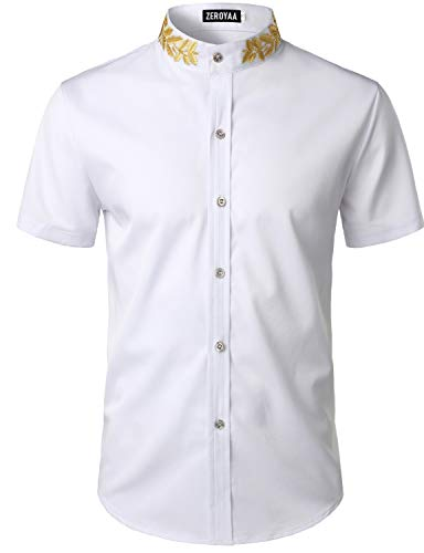 ZEROYAA Mens Hipster Gold Embroidery Mandarin Collar Slim Fit Short Sleeve Casual Dress Shirts Z79 White X-Large
