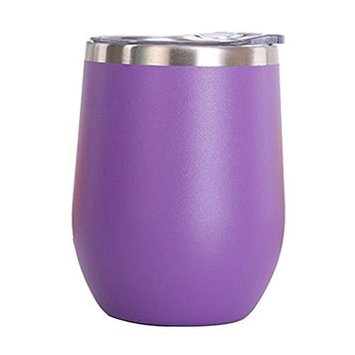 Vaso de Agua de Acero Inoxidable con Tapa, 12 oz Vacío de Doble Pared Vacío Vacipador Copa para café, Vino, cócteles, Helado,Púrpura