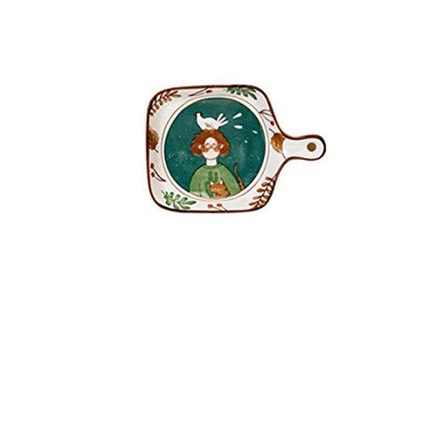 Glaseado de cerámica para hornear cacerola con mango patrón de fruta vajilla ensalada placa de ensalada alta temperatura antideslizante bandeja para hornear (Color : Fairy forest)