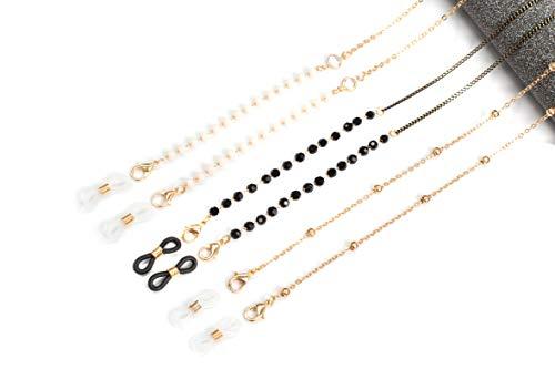 Generik 3er Set Maskenkette für Mundschutz | Kette für Brille | Stylisches Band für Mundschutz | Maskenband Gold Schwarz mit Perlen | Brillenband/Brillenkette für Masken zum Umhängen