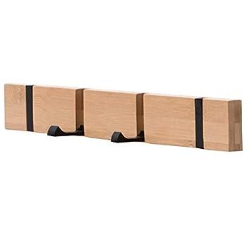 KYSMOTIC Coat Rack Wall Mounted Modern Coat Hooks Wall Mounted with Folding Hooks Space-Saving Coat Hanger for Coats Purses Key – Wooden 4 Hooks
