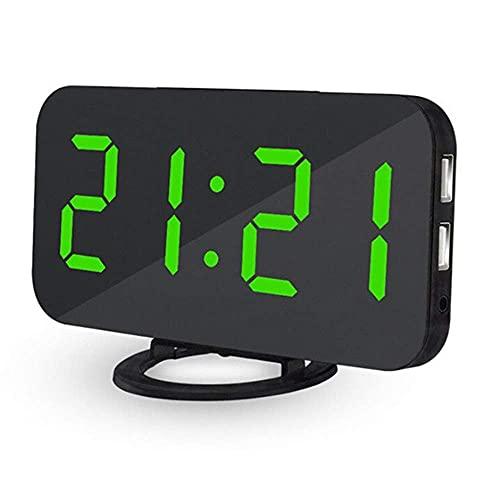 ZHZHUANG Despertador Reloj Despertador Reloj de Escritorio Mesa Digital Usb Relojes de Mesa Led de Carga Led Pantalla de Voz Control Electrónico Retroiluminación Electrónica Reloj Despertador,Verde