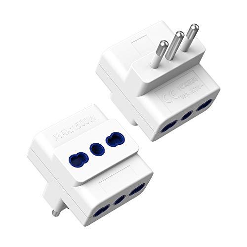 TESSAN Adattatore Multipresa Tripla 2 Packs, Adattatore Presa 3 Prese Bivalenti 10A / 16A, Multipresa Elettrica di Spina 16A, Presa Tripla per Caricare Laptop, Tripla Multipresa per Casa e Ufficio