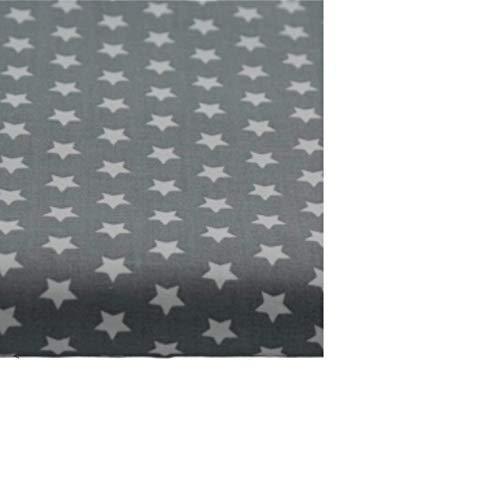 Amazinggirl Tela algodón con estrellas, por metros, tejido de algodón 100%, tejido para coser, tejido algodón único, certificado Öko-Tex Standard 100