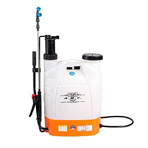 AMC Pompa a spalla elettrica nebulizzatore da 16 lt per disinfestazione irrorazione, nebulizzatore a pressione elettrico e manuale per giardino ugello in ottone regolabile compatto leggero ergonomico