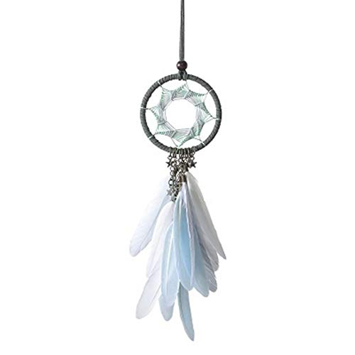 Mini 38cm Dream Catchers Hanging Car Kids Nursay Room Decoration Indian Style Feathers Pendants Bag Key Chains Wind Chimes (Color : Light Green)
