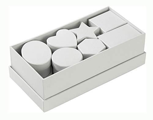 folia 31500 - Pappschachtel Set, weiß, 15 teilig, sortiert in verschiedenen Formen und Größen - ideal zum Verzieren und Verschenken